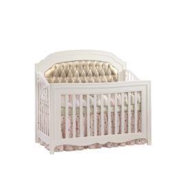 """Allegra """"5-in-1"""" White Convertible Crib with platinum diamond tufted upholstered panel"""