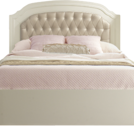"""Allegra french white Double Bed 54"""" (low profile footboard) with pink sheets"""