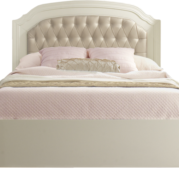 "Allegra french white Double Bed 54"" (low profile footboard) with pink sheets"
