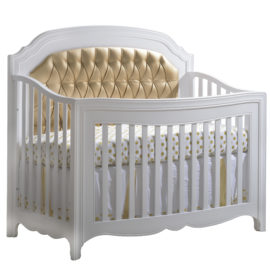 """Allegra Gold """"5-in-1"""" white Convertible Crib with Gold Diamond Tufted Upholstered Headboard Panel in gold and polka dot sheets"""