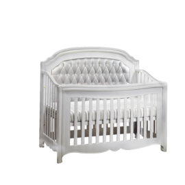 """Alexa """"5-in-1"""" Convertible Crib with silver diamond tufted upholstered panel"""