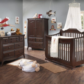 Blue baby room with dark wood (cocoa) armoire, double dresser and crib
