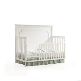 "Ithaca ""5-in-1"" White Convertible Crib with classic detailing and toddler gate"