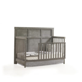 "Rustico ""5-in-1"" Wooden Convertible Crib with toddler gate"