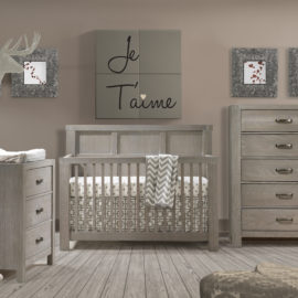 Grey Baby room with wooden floors and rustic crib, 3 drawer dresser, and 5 drawer dresser
