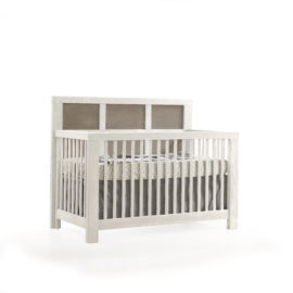 "Rustico Moderno ""5-in-1"" White Convertible Crib with dark panels"