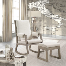 wooden Rocking chair with beige seats & Ottoman in a bedroom with map of italy wallpaper