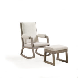 Wooden rocking chair with beige cushions and Ottoman (Talc Linen Weave & Sugarcane)