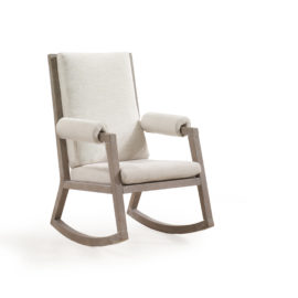 Wooden rocking chair with Sugarcane frame & Talc Linen Weave