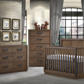 Baby Room with white brick walls, dark wook crib, double dresser and 5 drawer dresser with black metallic handles