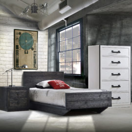Bedroom with white brick wall and grey industrial wall with dark black wooden win bed and nightstand and a white dresser with black handles