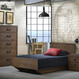 Bedroom with white brick walls, industrial light and decor with dark wood twin bed, nightstand and 5 drawer dresser with black edges and handles
