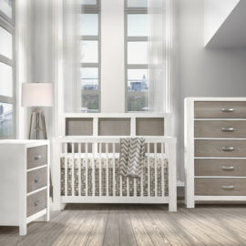 Grey Baby room with white rustico moderno crib, 3 drawer dresser and 5 drawer dresser