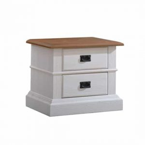 White wood nightstand with two drawers, black knobs and brown top