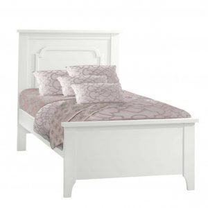"French White Classic Twin Bed 39"" with pink sheets"