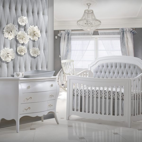 Grey baby room featuring a Convertible Crib with linen grey diamond tufted panel & Double Dresser in white featuring Matty in dusty grey