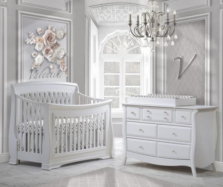 Grey baby room with a white Convertible Crib with linen grey diamond tufted panel, Double Dresser & Changing Tray in white