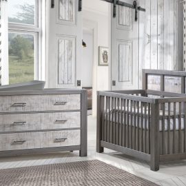 A white rustic nursery with white wooden panelled walls, a convertible Crib & Double Dresser in grigio with white bark featuring Matty in soft grey