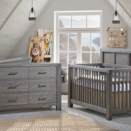 Grey nursery featuring a Convertible Crib & Double Dresser in grigio featuring Matty in dusty grey