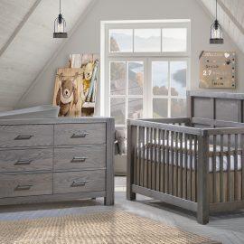 Grey nursery featuring a Convertible Crib & Double Dresser in grigio featuring Matty in dusty grey