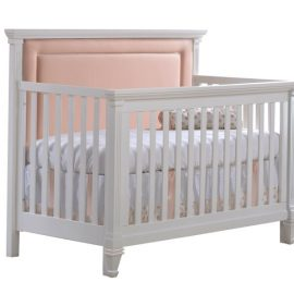 "Belmont ""5-in-1"" White Convertible Crib with Channel Tufted Upholstered Headboard Panel in Blush"