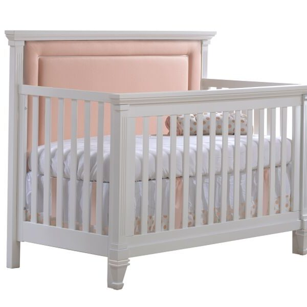 """Belmont """"5-in-1"""" White Convertible Crib with Channel Tufted Upholstered Headboard Panel in Blush"""