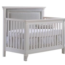 "Belmont ""5-in-1"" White Convertible Crib with Channel Tufted Upholstered Headboard Panel in grey"