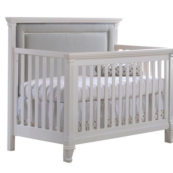 "Belmont ""5-in-1"" Convertible Crib with Channel Tufted Upholstered Headboard Panel in grey"