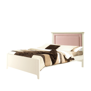"Belmont White Double Bed 54"" (low profile footboard) with Channel Tufted Upholstered Headboard Panel Blush"