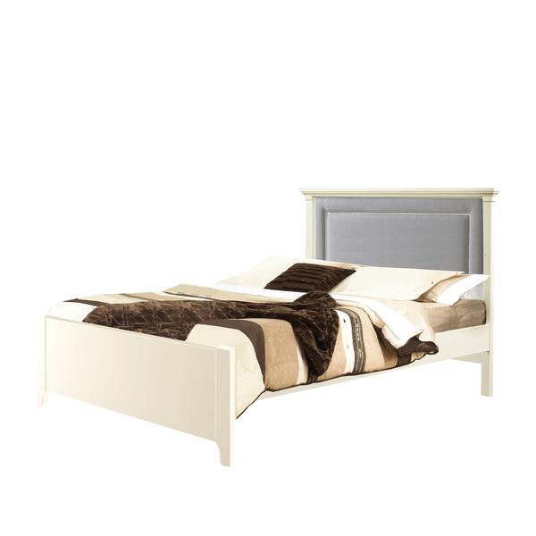 "Belmont White Double Bed 54"" (low profile footboard) with Channel Tufted Upholstered Headboard Panel in Gray"