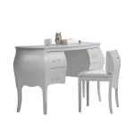 Allegra Gold Desk-Vanity with pull out chair and gold knobs