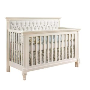 "Belmont ""5-in-1"" White Convertible Crib with Diamond Tufted Upholstered Panel in white"