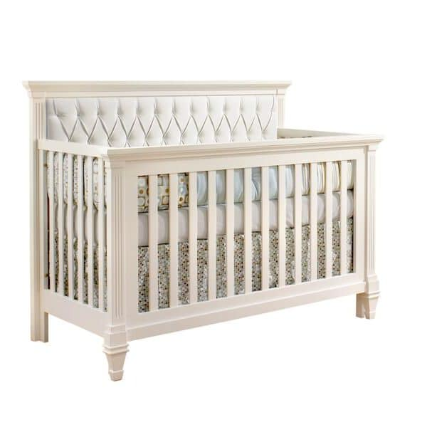 """Belmont """"5-in-1"""" Convertible Crib with Diamond Tufted Upholstered Panel in white"""