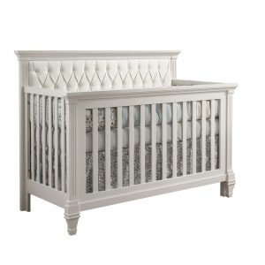Belmont classic white crib with white headboard diamond-tufted panel