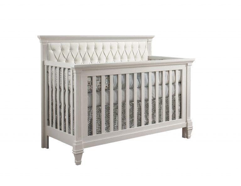 Belmont classic white crib with white headboard diamond-tufted panel