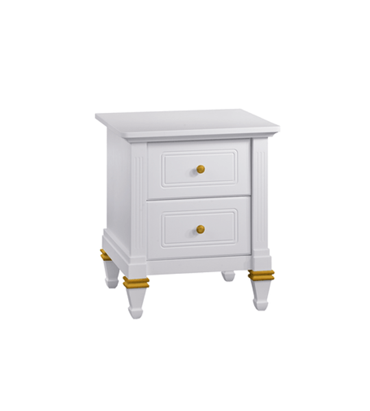 Belmont Gold white Nightstand with gold knobs