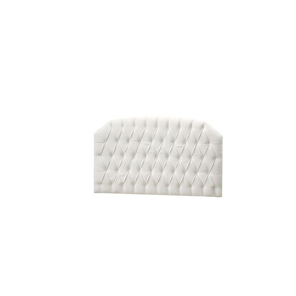 Upholstered Headboard Panel (Diamond Tufted) - White