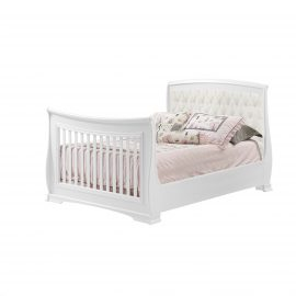 Bella Double Bed in White with Talc Linen Weave Panel