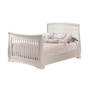 Bella Double Bed in French white with Talc Linen Weave Panel