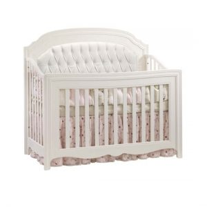 "Allegra ""5-in-1"" White Convertible Crib with white diamond tufted Upholstered Panel"