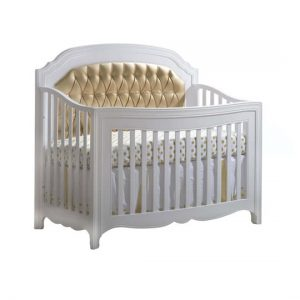 "Allegra ""5-in-1"" White Convertible Crib with a Gold Upholstered Panel"