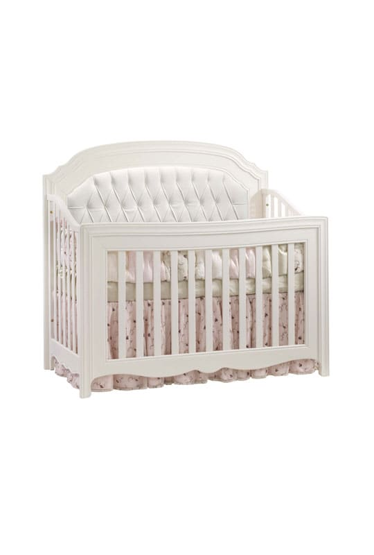 """Allegra """"5-in-1"""" White Convertible Crib with white diamond tufted Upholstered Panel"""