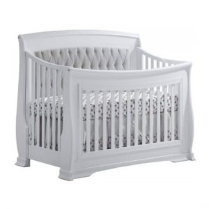 "Bella White ""5-in-1"" Convertible Crib with Grey Upholstered Headboard Panel"
