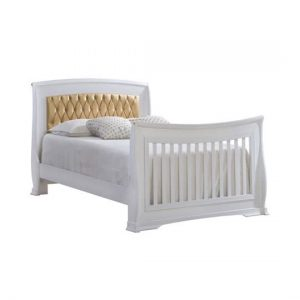 "Bella Gold White Double Bed 54"" with gold diamond tufted upholstered panel"