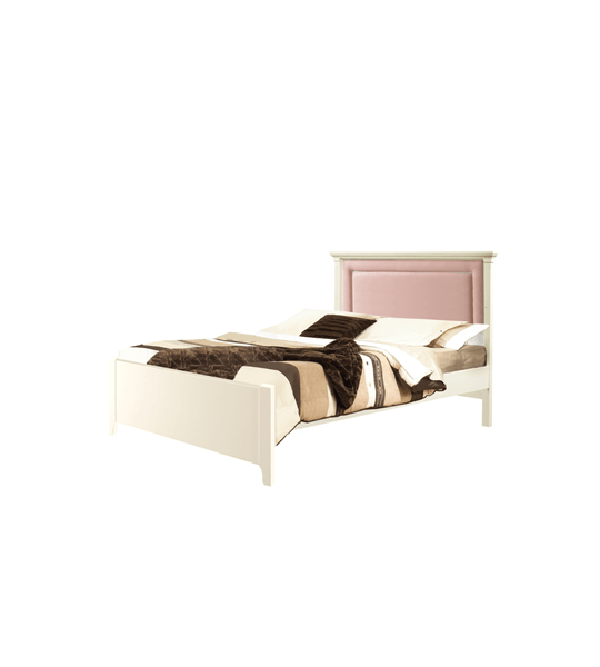 """Belmont white Double Bed 54"""" (low profile footboard) with Channel Tufted Upholstered Headboard Panel in Pink"""