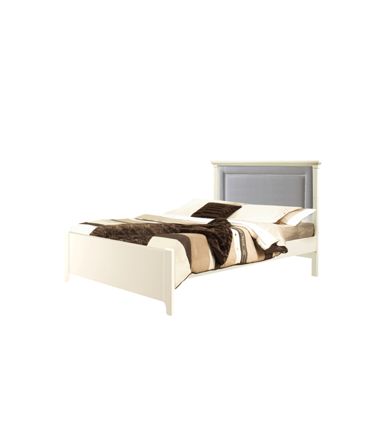 """Belmont White Double Bed 54"""" (low profile footboard) with Channel Tufted Upholstered Headboard Panel in Grey"""
