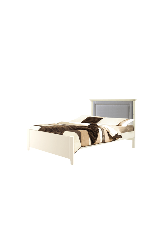"Belmont White Double Bed 54"" (low profile footboard) with Channel Tufted Upholstered Headboard Panel in Grey"