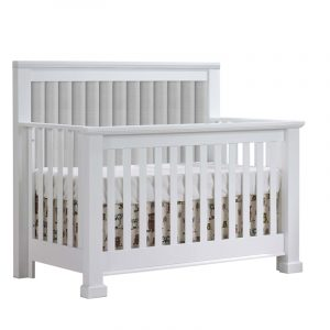 Taylor Convertible Crib in White with Channel Tufted Upholstered panel in Linen Grey