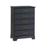 Tayler 5 Drawer Dresser in Charcoal with gold antique handles