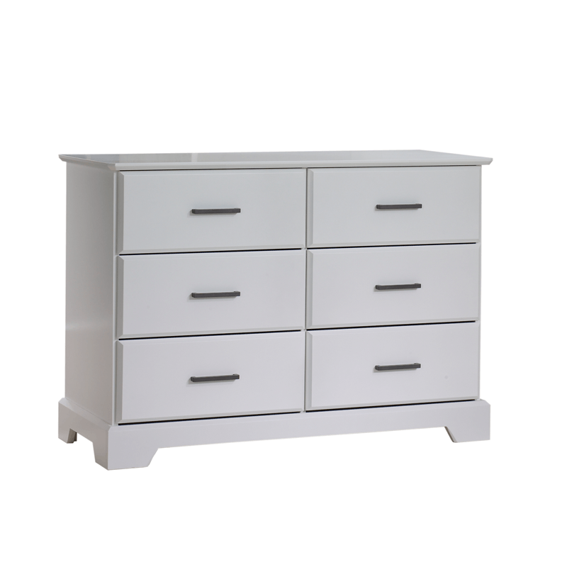 Tayler Double Dresser in White with black handles